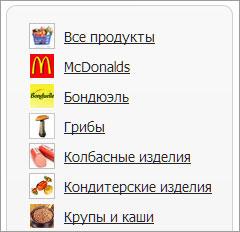 Выбор категории продукта